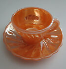 Vintage Fire King Demitasse Shell Peach Lustre Cup and Saucer Small Coffee