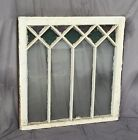 Antique Stained Glass Window Shabby Cottage Chic Vtg Old Textured 1396 16