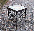Vintage wrought iron tile top. Inset with 4 17th-18th century decorative tiles