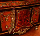 Gorgeous French Louis Style Credenza Cabinet Chest Of Drawers, Marble Top,Inlaid