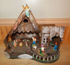 Large Vintage Wooden Nativity Scene with Manager and Figurines