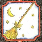 HALLOWEEN WITCH BROOM Wood Mounted Rubber Stamp NORTHWOODS C10059 New