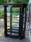 BIG AMERICAN VICTORIAN MAHOGANY CURVED GLASS CHINA CABINET in NH cheap!