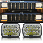 For 1979 2001 Jeep Cherokee XJ YJ 2 7x6 15 LED Black Projector Headlights