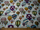 Novelty Fabric 1 7/8 Yd Colorful Hot Air Balloons Clouds Quality Quilting Cotton