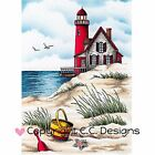 Beach Scene Cling Unmounted Rubber Stamp CC DESIGNS New JD1061