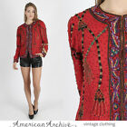 Vintage 80s Sequin Beaded Jacket Deco Red Silk Cocktail Party Draped Dress Top M
