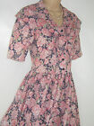 LAURA ASHLEY VINTAGE PINK COUNTRY PEONY SHAWL COLLAR SUMMER / TEA DRESS, 12/14