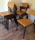 Single Vintage Industrial Stacking School Cafe Bar Chair, 10 AVAILABLE