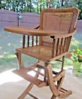 Antique Vintage Child's Oak High Chair - Rocker Rocking with Cane; Adjustable