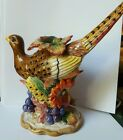 RETIRED FITZ AND FLOYD AUTUMN BOUNTY PHEASANT CANDLE HOLDER female Thanksgiving