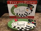 Frosty's Frolic Fitz And Floyd Snowman Design Serving Plate Dish In Box Nice