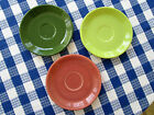 VINTAGE FIESTA, FIESTAWARE 50's SAUCERS, 3! ROSE, GRAY & FOREST GREEN, TERRIFIC!