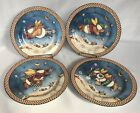 4 Sakura Snow Angel Village Salad Dessert Plates Debbie Mumm New In Box Snowman