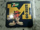 UofM University of Michigan Vintage 4 COASTERS 7up GO BLUE souvenir Wolverines