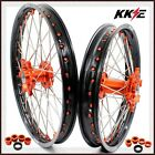 KTM MX COMPLETE WHEELS RIMS SET SX-F SX 250 350 450 21/19 ORANGE NIPPLE 03-17