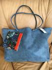 NWT Saks Fifth Avenue Blue Faux Leather Tote Bag  Floral Scarf