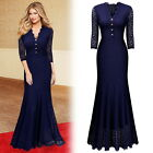 Womens Long Formal Cocktail Evening Party Wedding Prom Lace Maxi Fishtail Dress