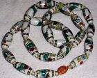 Vintage Chinese Export Hand Painted Flower Porcelain Bead Necklace Gold Clasp