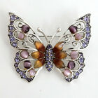 Silver tone BUTTERFLY shape pin brooch with rhinestones and cat eye c... Lot 25C