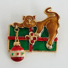 Gold plated enamelled multicolor CAT ON BOX with dangling ball Lot 25A