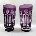Bohemian Amethyst Cut to Clear Highball Glasses Set of 2