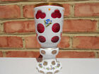 Old Vintage Bohemian Art Glass Cut Overlay Cranberry White Vase HP Flowers Gold