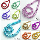 Wholesale Half Plated Rondelle Faceted Crystal Glass Loose Spacer Beads 4mm 10mm