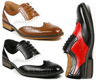 Mens Two Tone Perforated Wing Tip Lace Up Fashion Oxford Dress Shoes