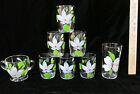 6 Juice Glasses Tumbler Sugar Bowl Painted White Flower Green Leaves Red Dot 8PC