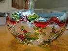 INKOGNETO HOLIDAY CHRISTMAS HOLLY FUSION FUSED CRACKLE ART STAINED GLASS BOWL