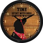 Time With Dogs Well Spent 10 Wall Clock dog Best Friend Wood Tone Personalized