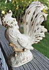 Vintage Japan White With Gold Trim Porcelain Rooster Figurine