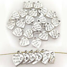 Lot 100 Silver Tibet Plated MADE WITH LOVE Heart Charms 035 Pendants Beads DIY