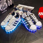 SAGUARO Unisex LED Light Up Sneakers Sportswear Striped Luminous Casual Shoes