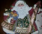 Fitz & Floyd Jolly Ole St Nick open figural candy dish w/handle - retired 2005