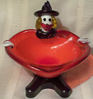 vtg Murano glass Clown candy dish