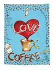 Julia Junkin I Love Coffee Kitchen Towel, Blue. Delivery is Free