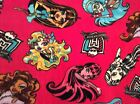 Monster high fleece fabric on hot pink 60 wide sold BTY