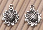 200 PCS Tibetan silver Crafts Sunflower Flowers Jewelry Making Charms Pendants
