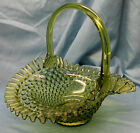 Vintage Fenton Art Glass Colonial Green Hobnail Basket Crimped Ruffled Edge