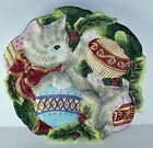 Fitz and Floyd Decorative 9 Inch Christmas Canape Plate - Kristmas Kitty