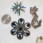 VINTAGE BROOCH LOT 925 sterling Mexico, RHINESTONES flowers kitty cat