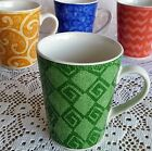 Set of 4 Sango Potpourri Coffee Mugs 12 Oz Emerald Gold Blue Pink Sue Zipkin