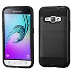 For Samsung Galaxy Amp 2 J12016 Black Hard Silicone Hybrid Rubber Case Cover