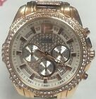 GUESS Men's U0291G2 Rose Gold-Tone Crystal Accent Chronograph Watch