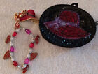 Red Hat Society coin purse, bracelet, with red hats, pin red hat with design.