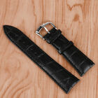 22mm Cool Watch Strap Men Wrist Band Black Genuine Leather Replacement Watchband