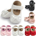 Newborn Baby Girls Bow Anti slip Leather Crib Shoes Soft Sole Sneakers Prewalker