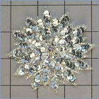 SILVER SEQUIN BEADED FLOWER APPLIQUE 2407 A